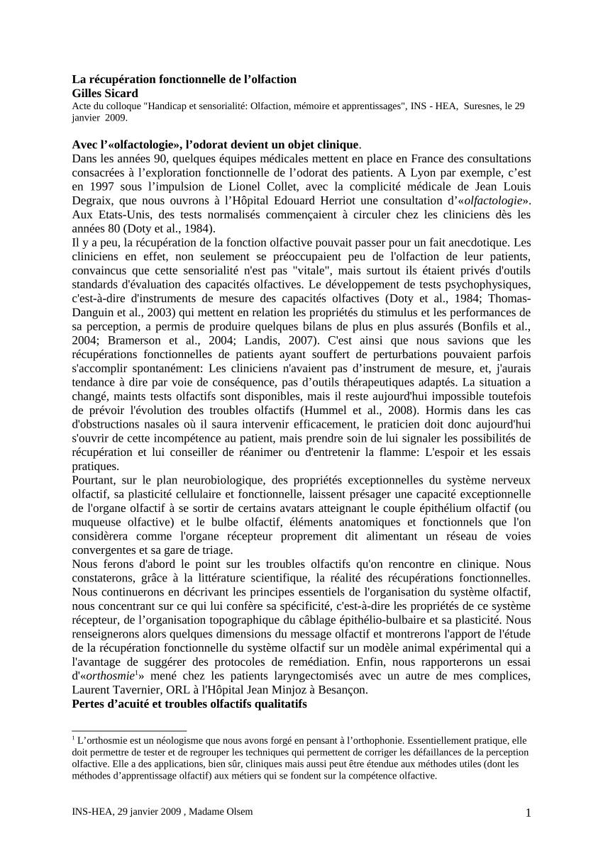 Pdf) Les Récepteurs Olfactifs Et Le Codage Neuronal De L'odeur intérieur Sens Olfactif