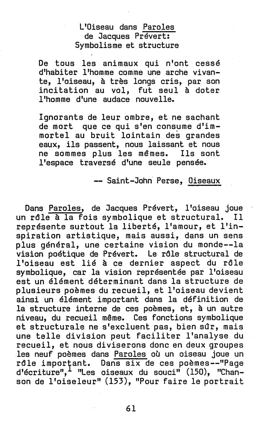 Pdf) L'oiseau Dans Paroles De Jacques Prévert: Symbolisme Et serapportantà Poeme De Jacque Prevert