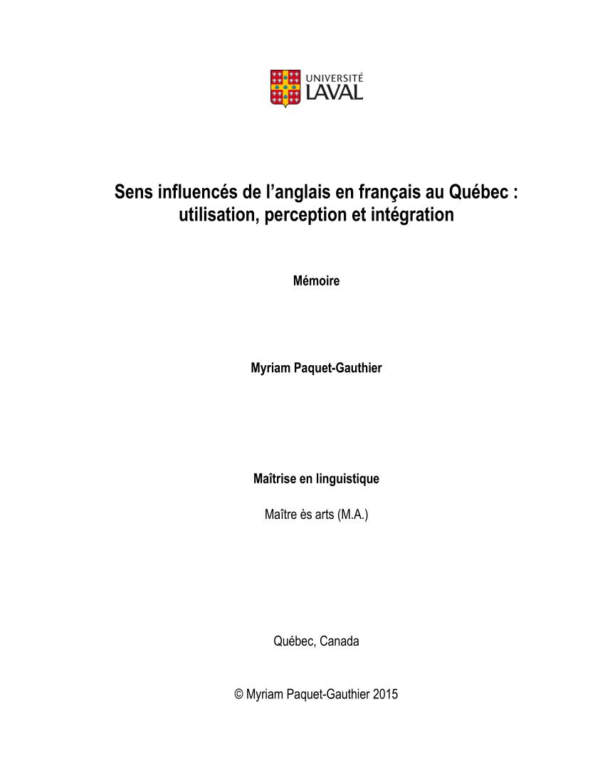 Pdf) Sens Influencés De L'anglais En Français Au Québec serapportantà Frere Jacques Anglais