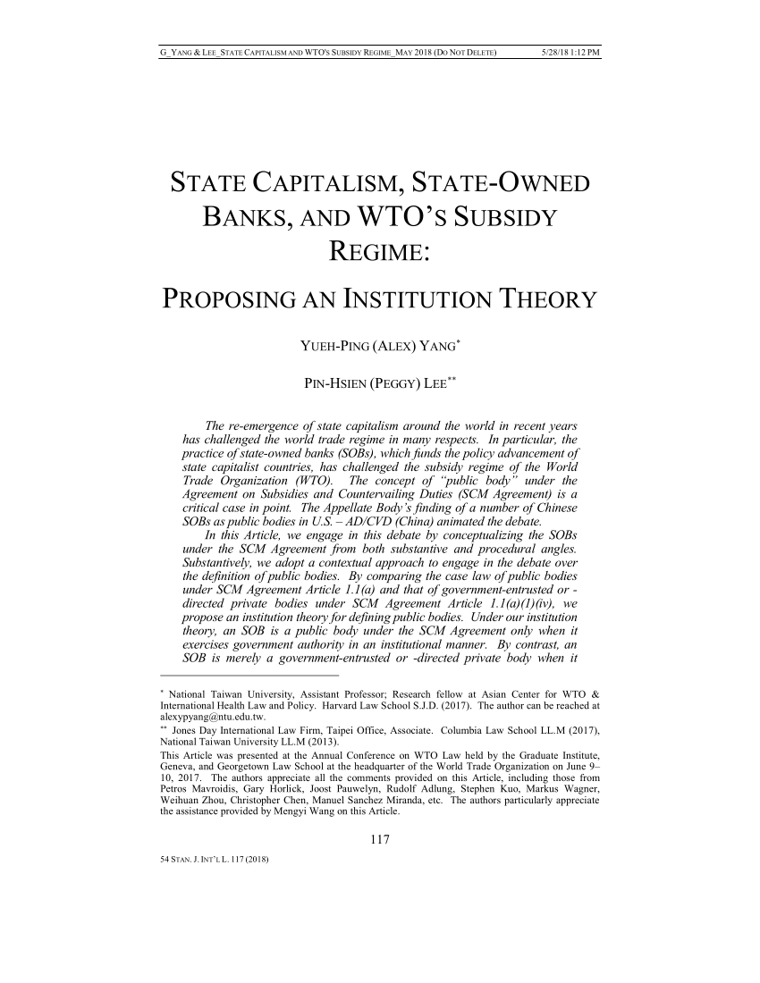 Pdf) State Capitalism, State-Owned Banks, And Wto's Subsidy pour A 7 Ans Anne Sylvestre