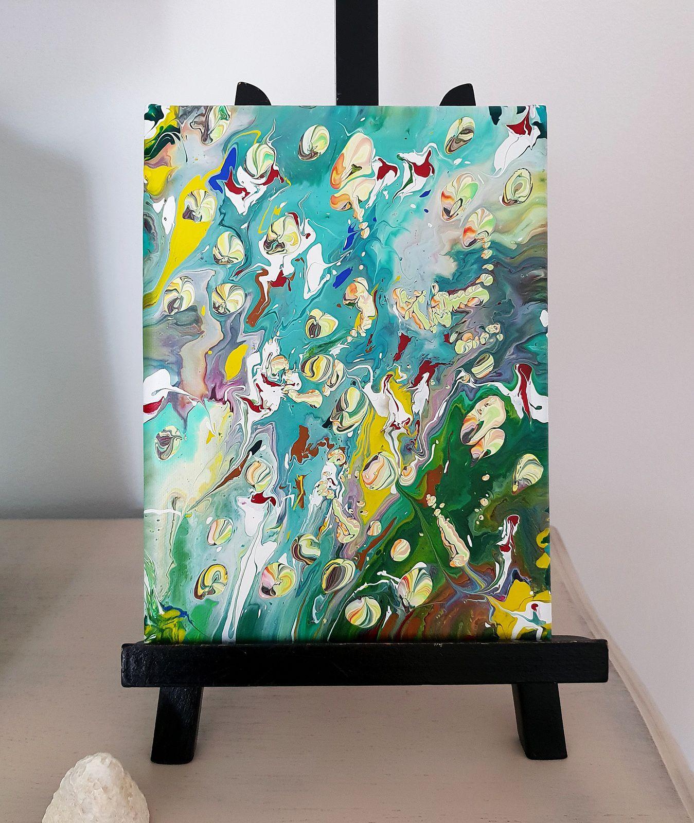 Peinture Acrylique Abstraite Pouring - Malyzarie Créations à Tableau De Peinture Pour Enfant