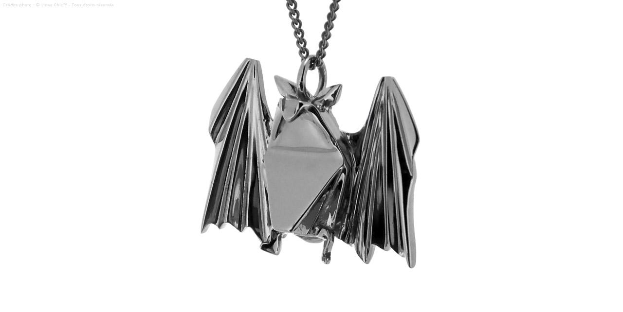 Pendentif Chauve-Souris + Chaîne En Argent 925 Rhodié Noir, 6.19G avec Origami Chauve Souris