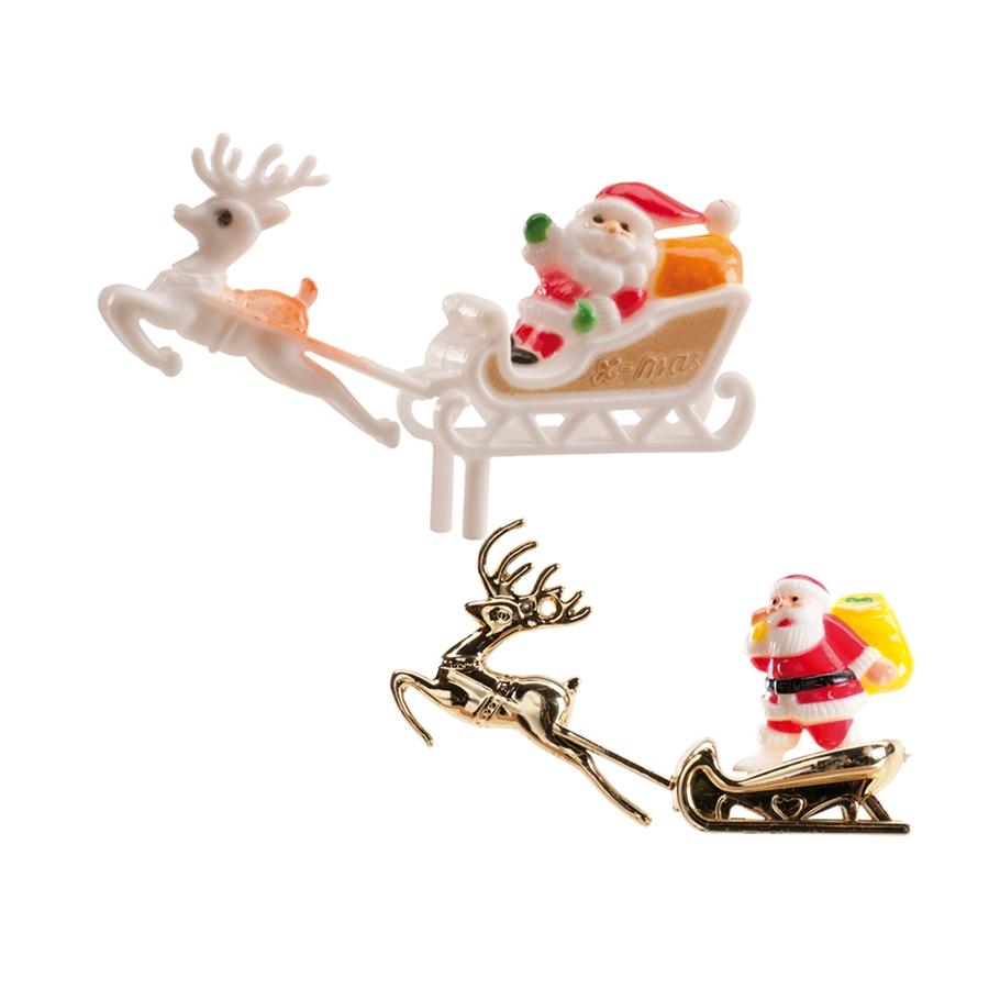 Père Noël Décoratif Et Traîneau Pour Gâteau, 6Cm tout Image De Traineau Du Pere Noel