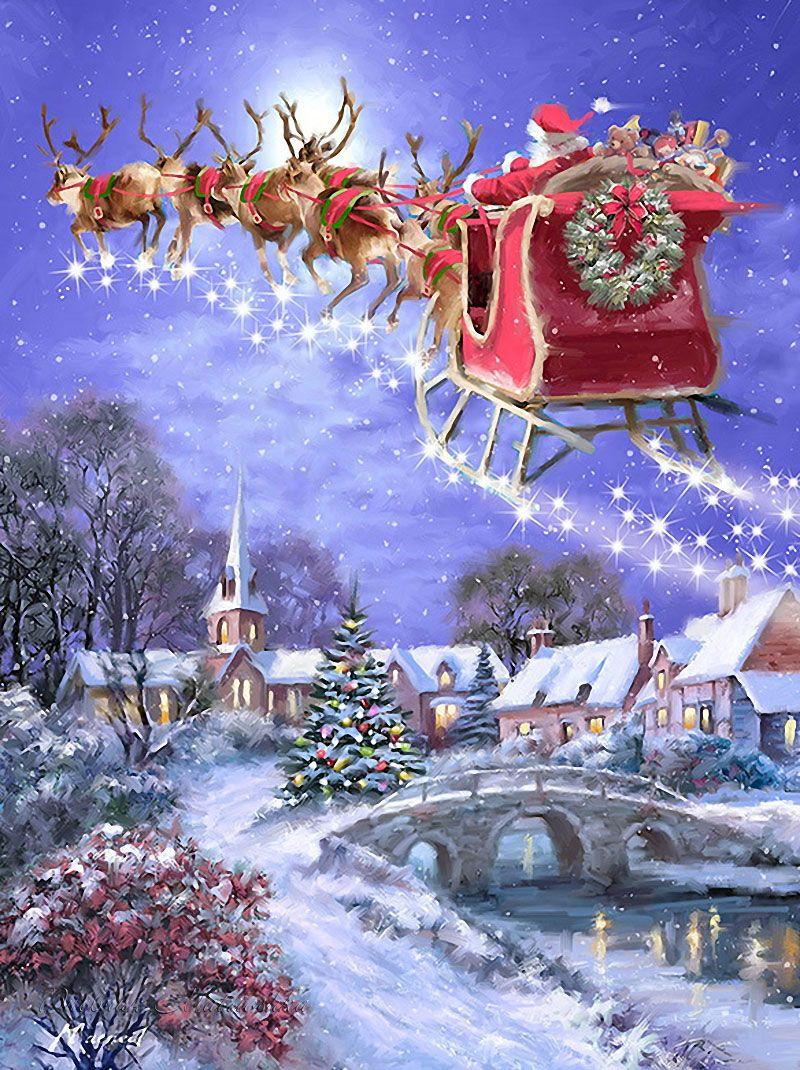 Père Noël Et Son Traineau (Con Imágenes) | Navidad De Antaño destiné Image Du Pere Noel Et Son Traineau