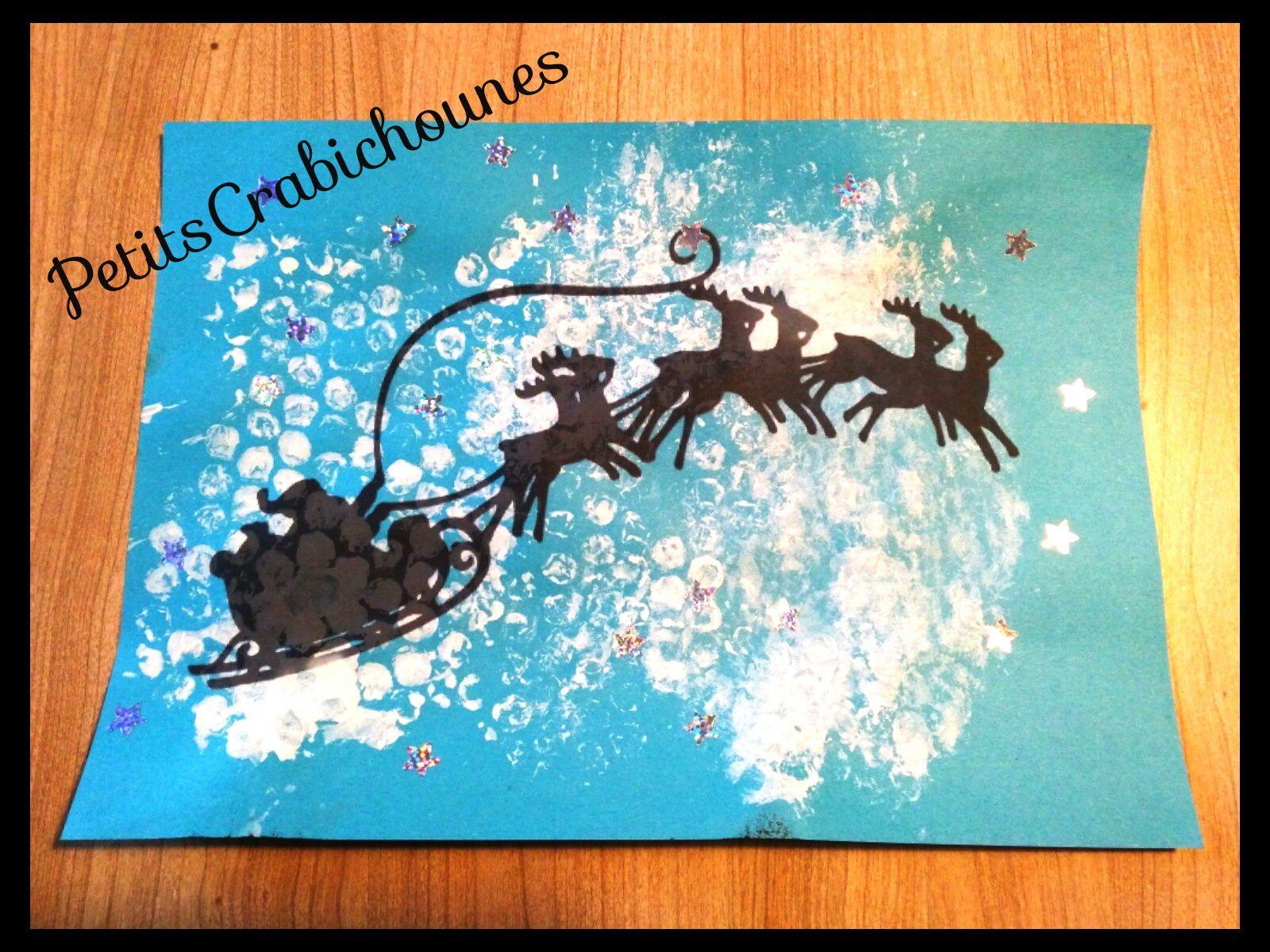 Père-Noël Et Son Traîneau Dans Le Ciel. Silhouette À dedans Image Du Pere Noel Et Son Traineau