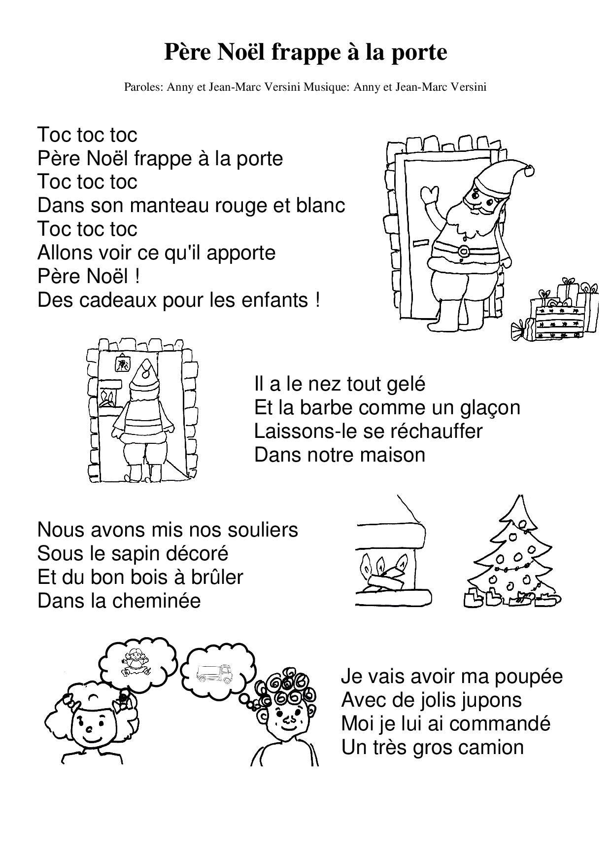 Père Noël Frappe À La Porte | Chanson Noel Maternelle encequiconcerne Chanson Dans Son Manteau Rouge Et Blanc