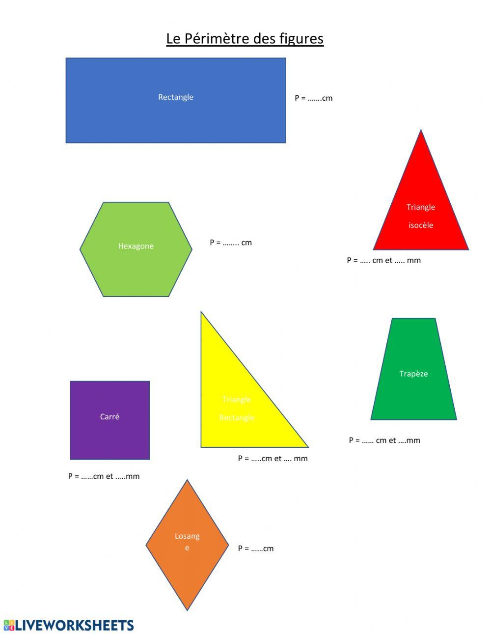 Périmètre De Figures Planes - Interactive Worksheet encequiconcerne Figures Géométriques Ce1