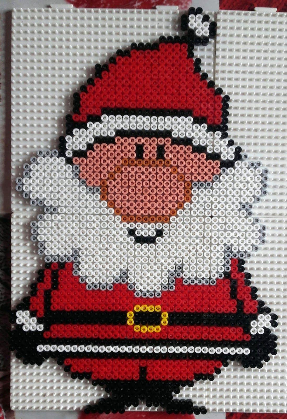 Perles Hama: Père Noel Gros Nez | Perles Hama Noël, Perles À à Pixel Art Pere Noel
