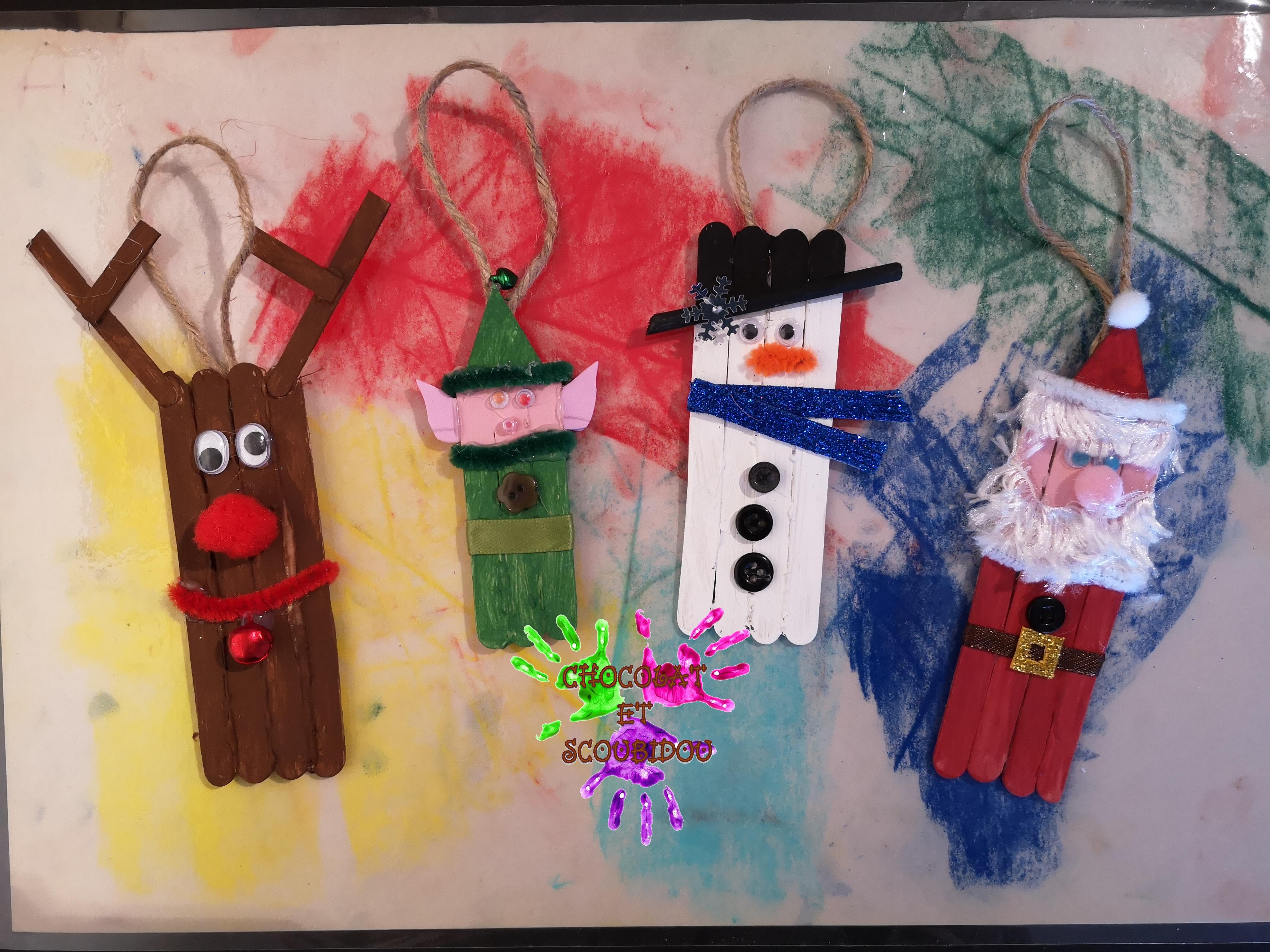 Personnages De Noël En Bois | Chocolat Et Scoubidou à Bricolage Avec Baton De Bois