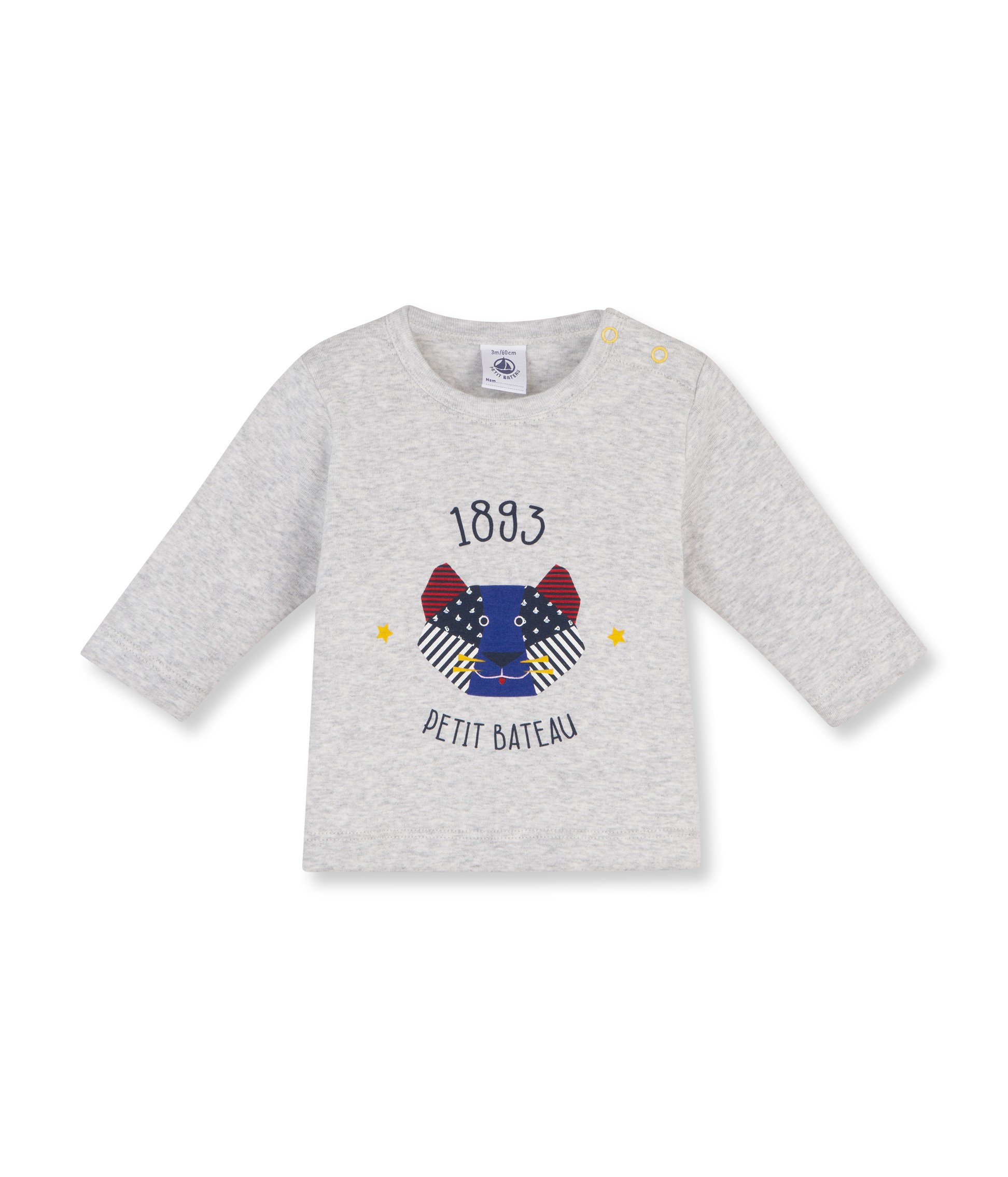 Petit Bateau T-Shirt Long-Sleeved Boy Mottled Light Grey encequiconcerne Origami Petit Bateau