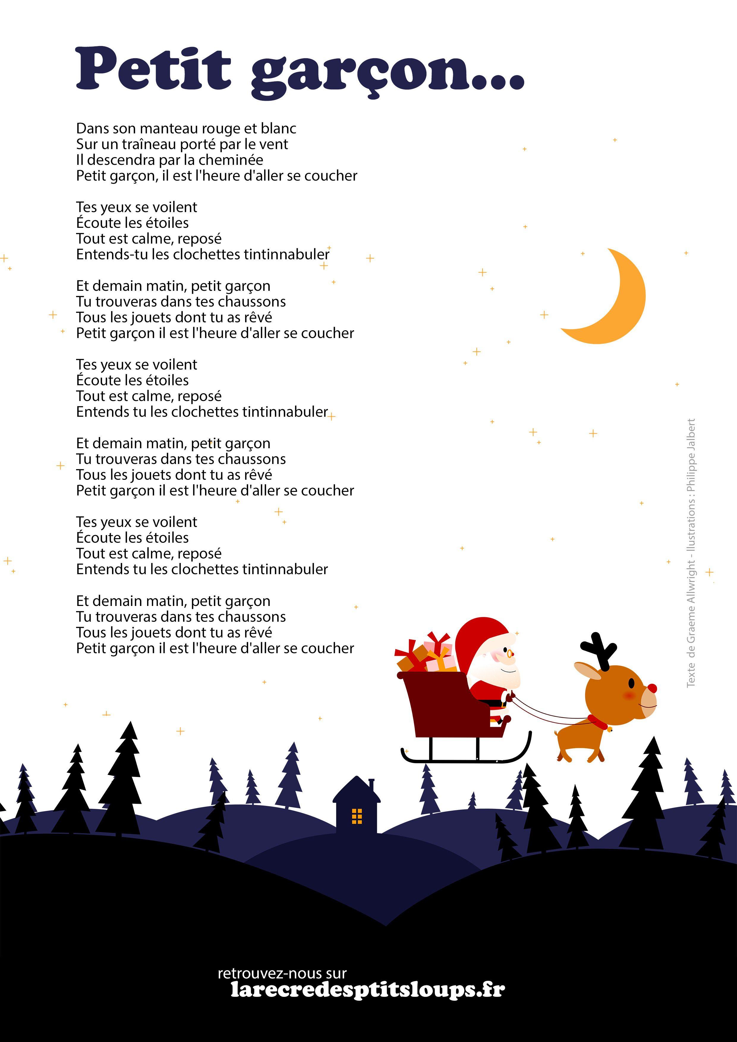 Petit Garcon Paroles À Imprimer De La Comptine De Noël (2020 pour Chanson Dans Son Manteau Rouge Et Blanc