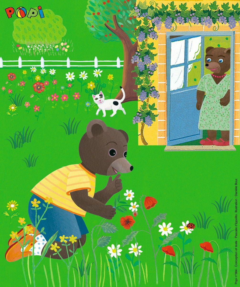 Petit Ours Brun Aime Cueillir Les Fleurs Dans Le Jardin serapportantà Petit Ours Brun Dessin Animé Gratuit