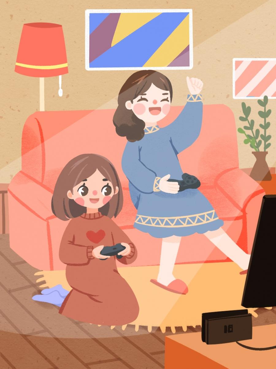 Petite Amie Jouer À Des Jeux Canapé Fille, Jouant, De, Jouer tout Jeux Petite Fille Gratuit