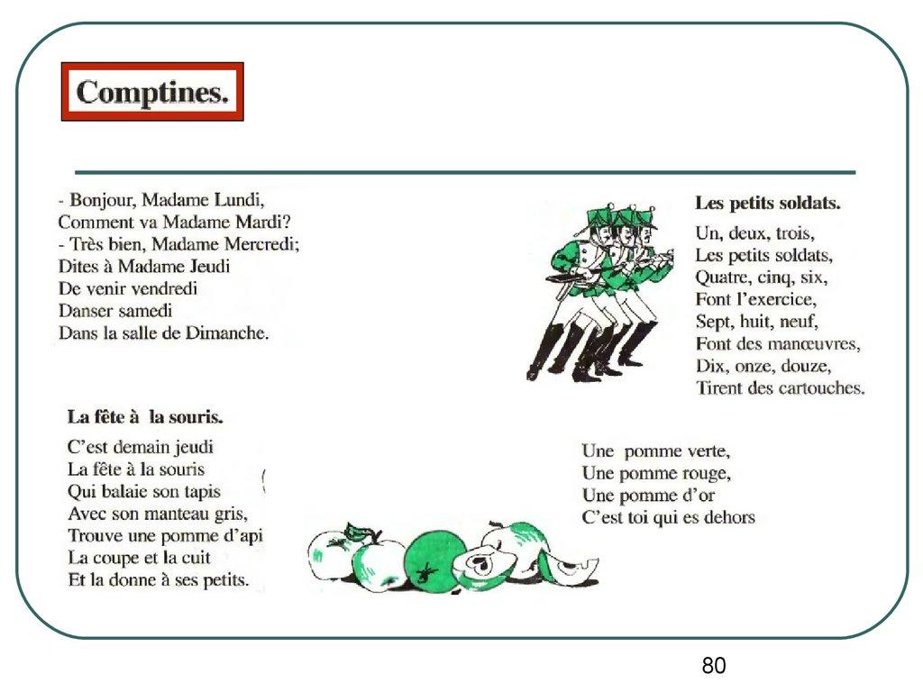Phonétique - Online Presentation encequiconcerne Comptine Bonjour Madame Lundi