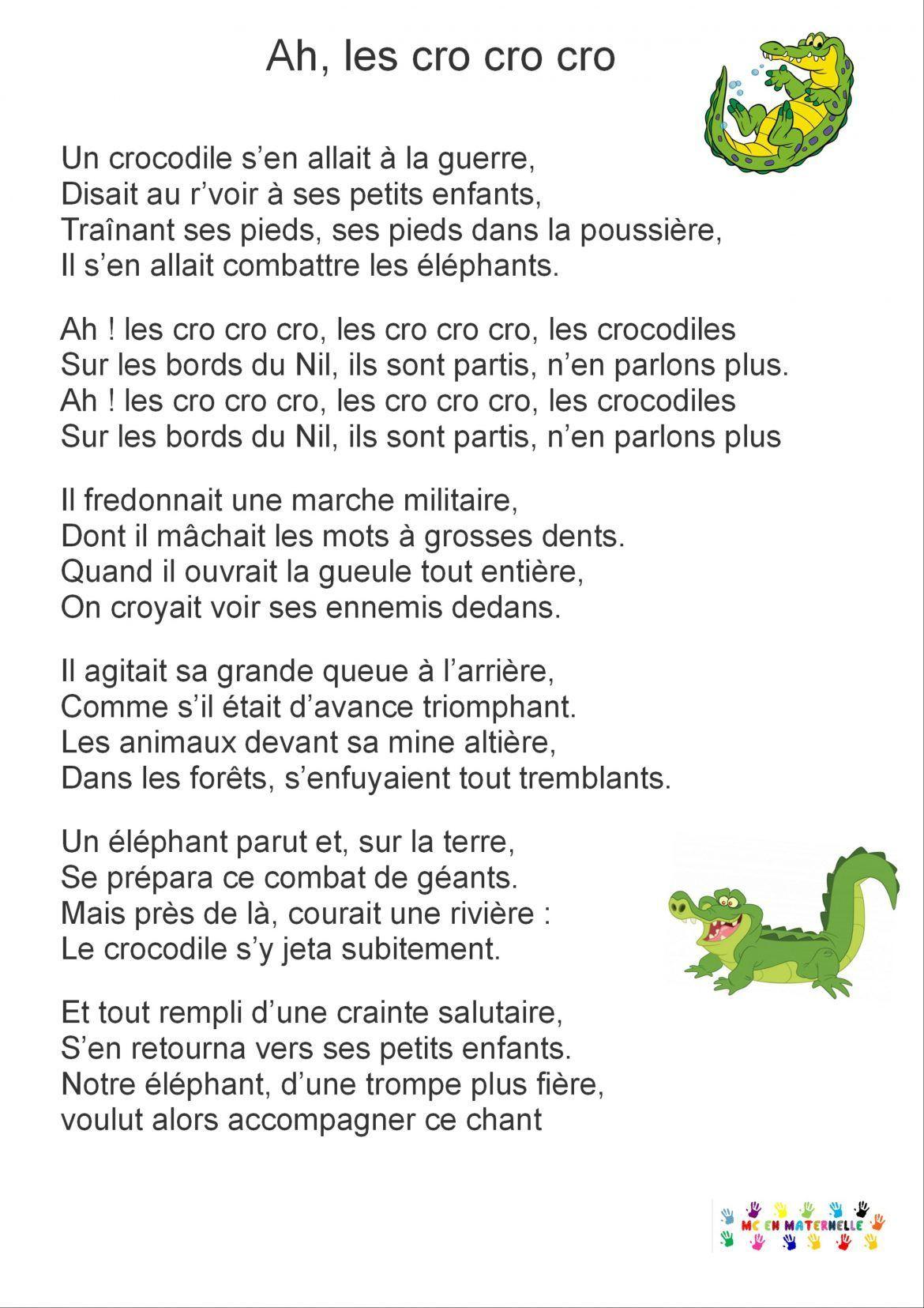 Pin On Chansons De La Maternelle dedans Ah Les Cro