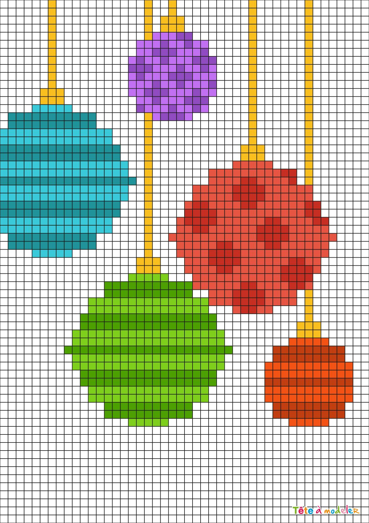 Pixel Art Boules De Noël Par Tête À Modeler à Pixel Art Pere Noel