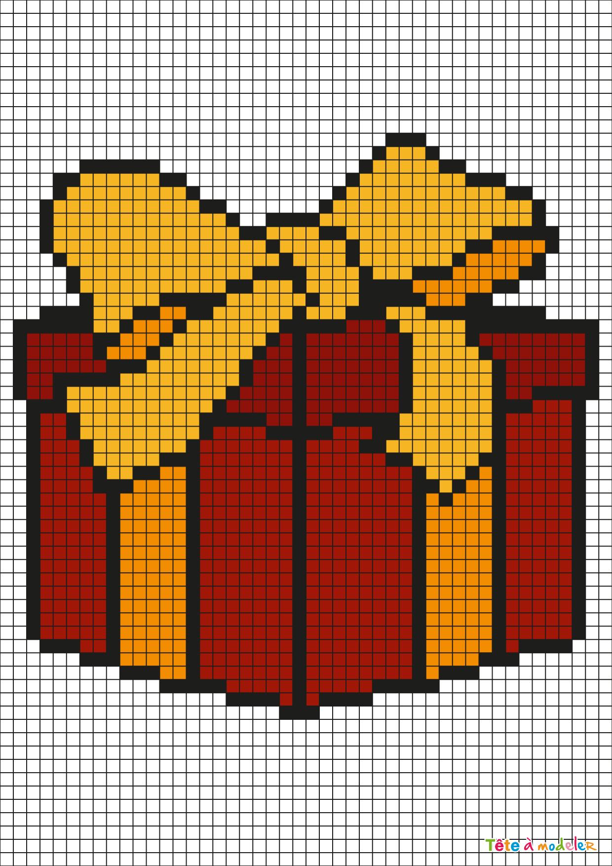 Pixel Art Cadeau De Noël Par Tête À Modeler intérieur Pixel Art Pere Noel