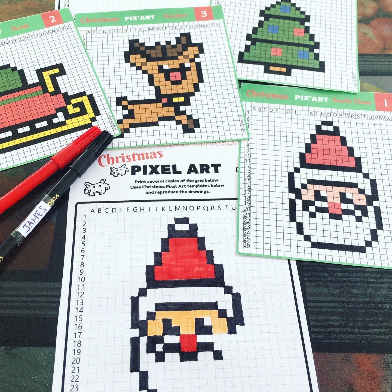 Pixel Art De Noël : 12 Modèles À Imprimer Gratuitement - Un à Pixel Art Pere Noel
