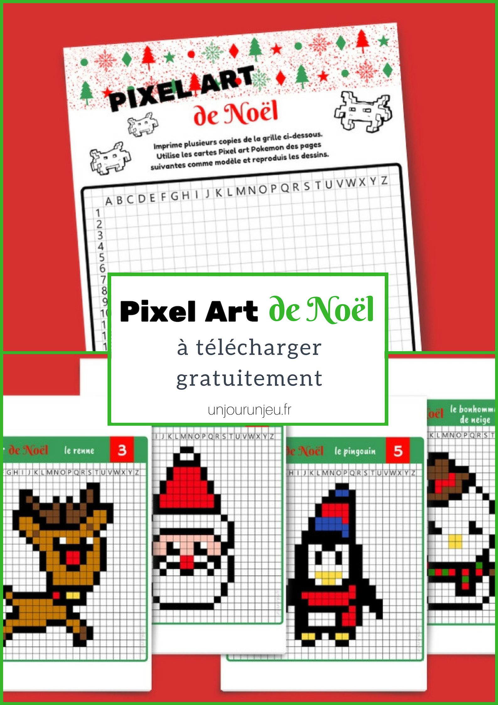 Pixel Art De Noël : 12 Modèles À Imprimer Gratuitement - Un tout Pixel Art Pere Noel