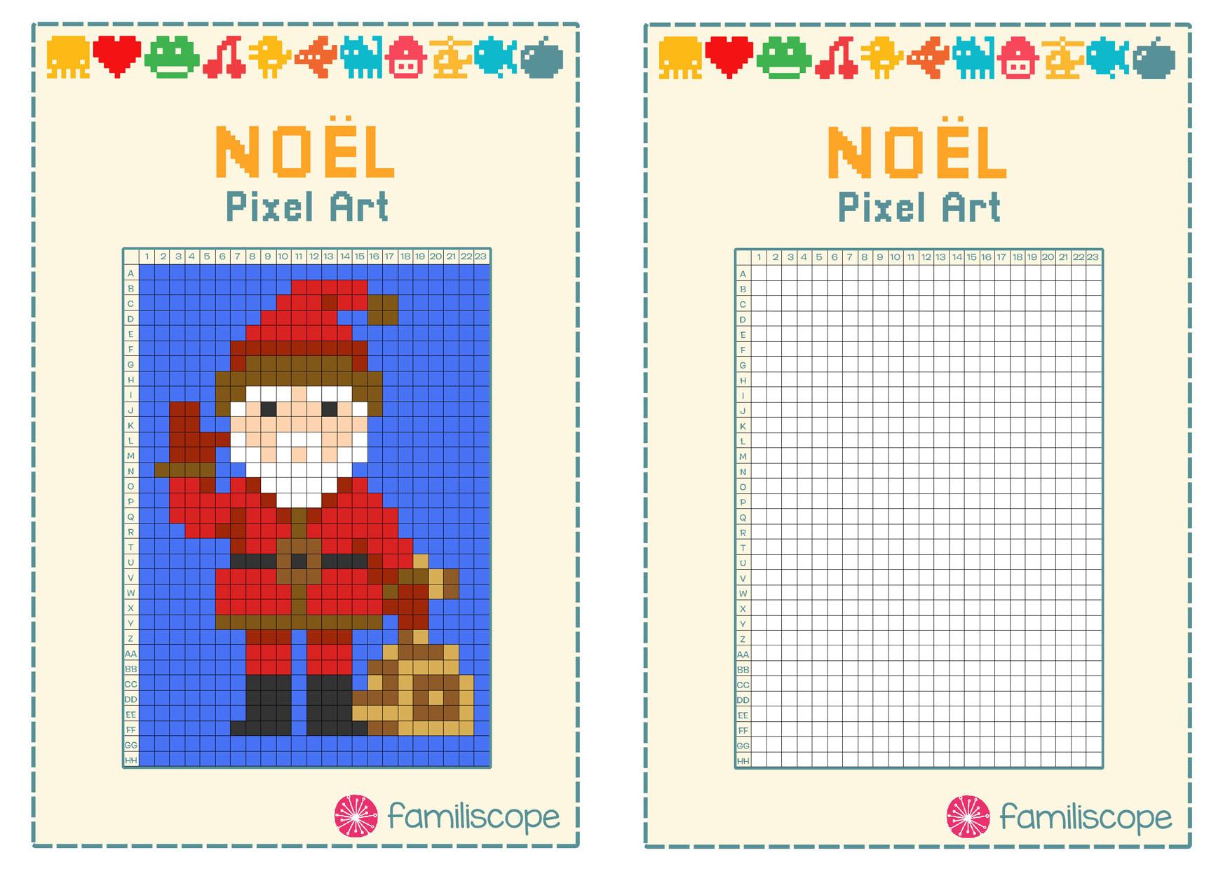 Pixel Art Noël : Père Noël avec Pixel Art Pere Noel