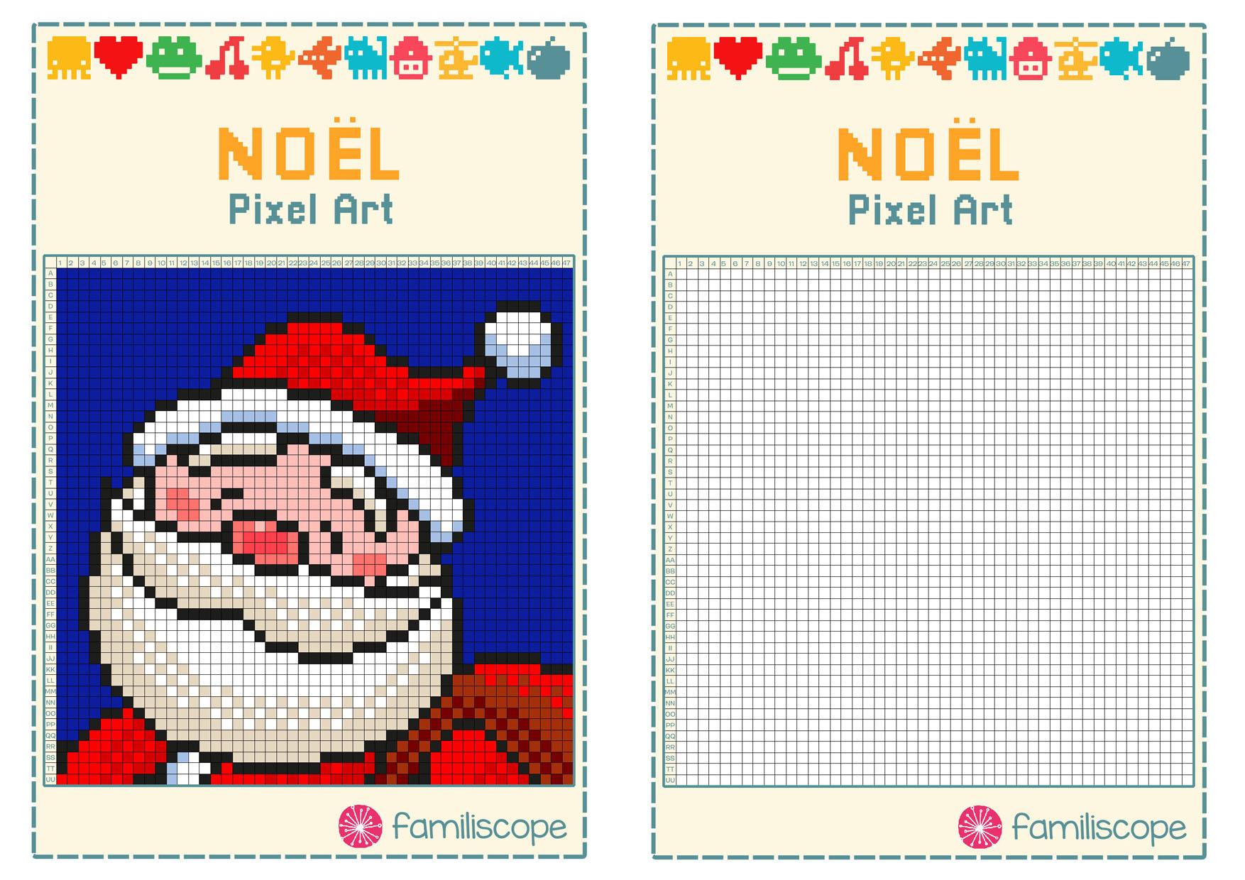 Pixel Art Noël : Tête De Père Noël tout Pixel Art Pere Noel
