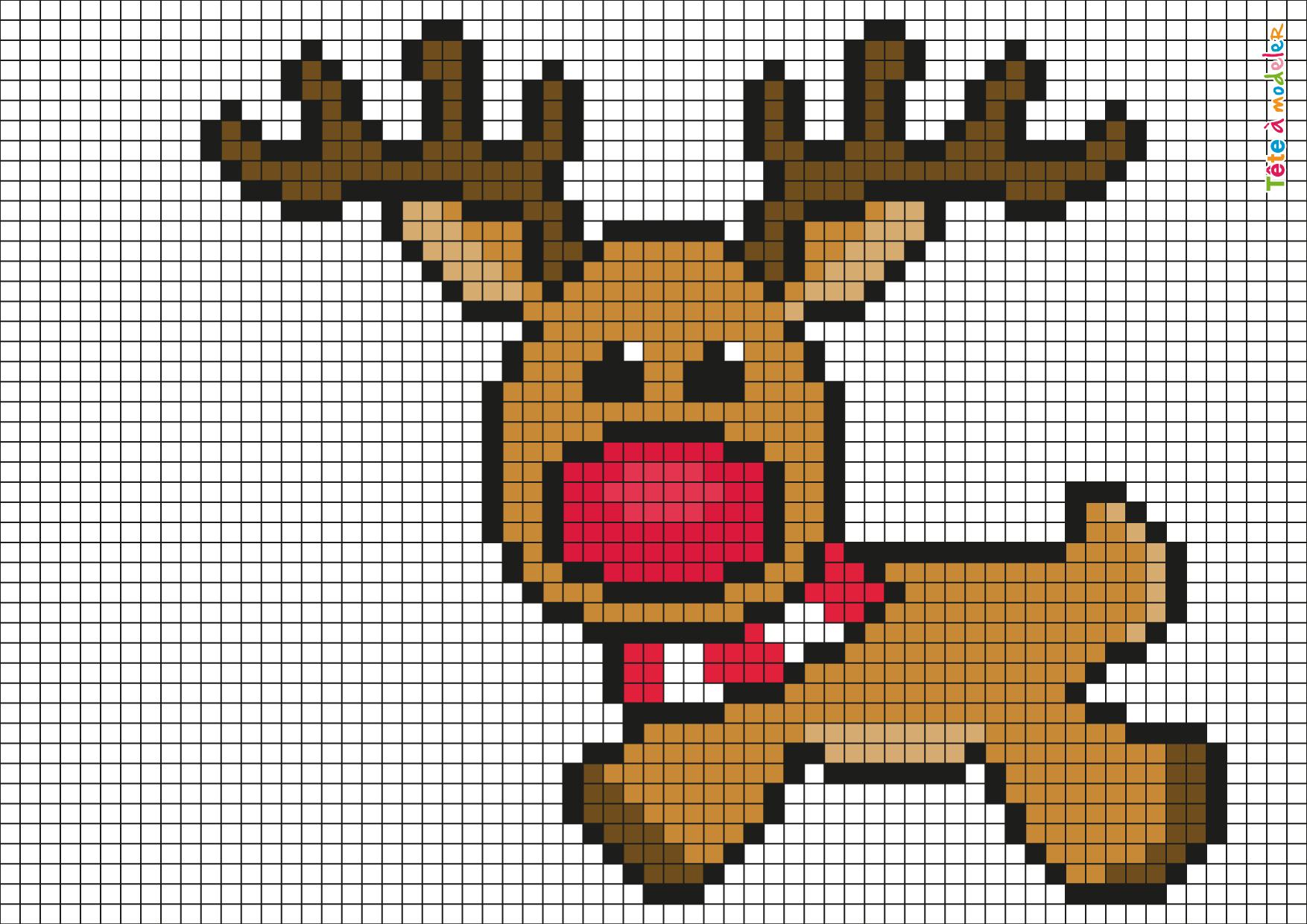 Pixel Art Renne De Noël Par Tête À Modeler destiné Pixel Art Pere Noel