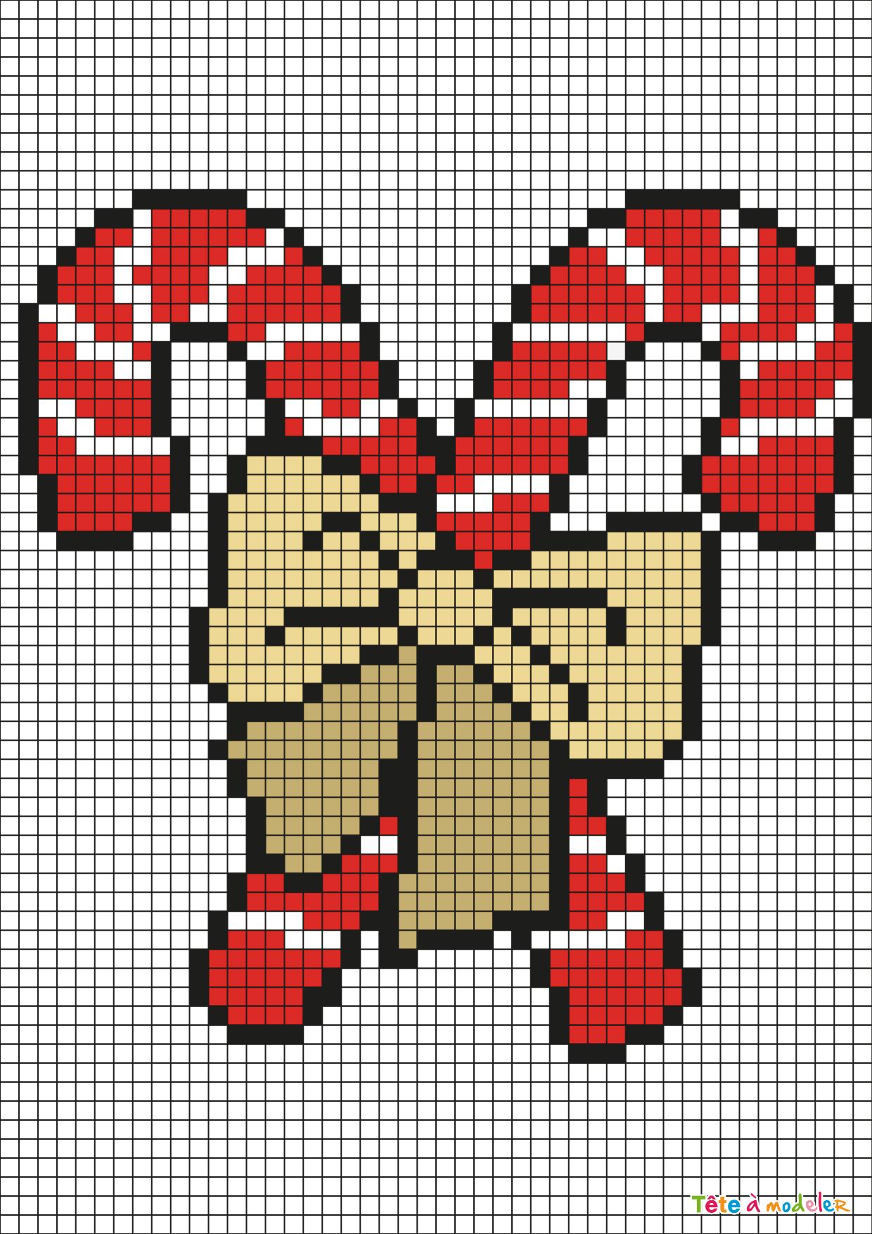 Pixel Art Sucre D'orge Par Tête À Modeler tout Pixel Art Pere Noel