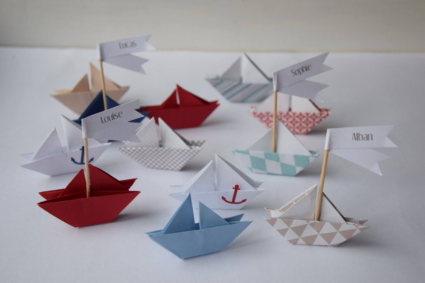 Place Cards Boat Origami, Baptism, Shower, Communion dedans Origami Petit Bateau