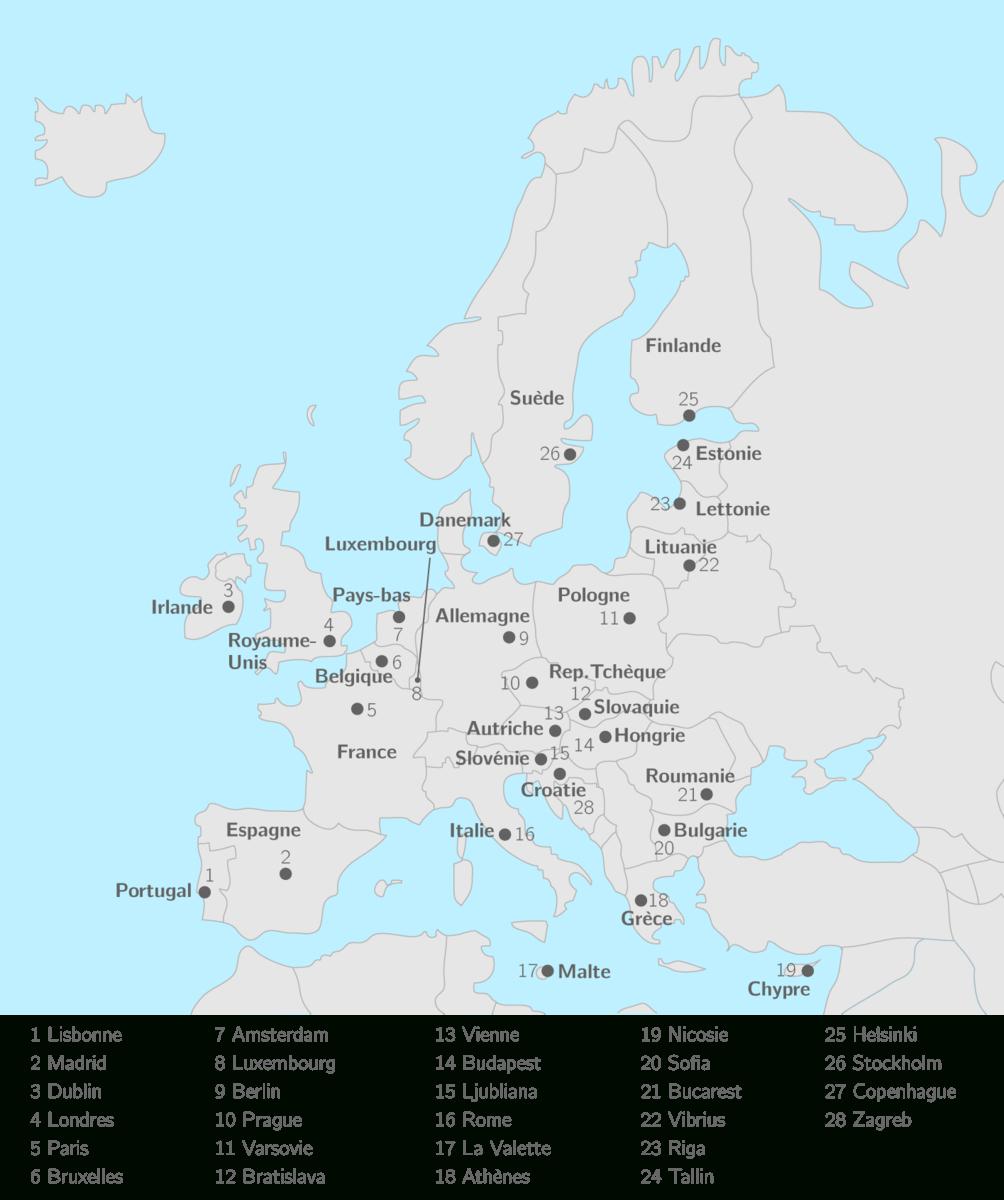 Placer Sur La Carte Les 28 États De L'union Européenne Et tout Carte Europe Capitale