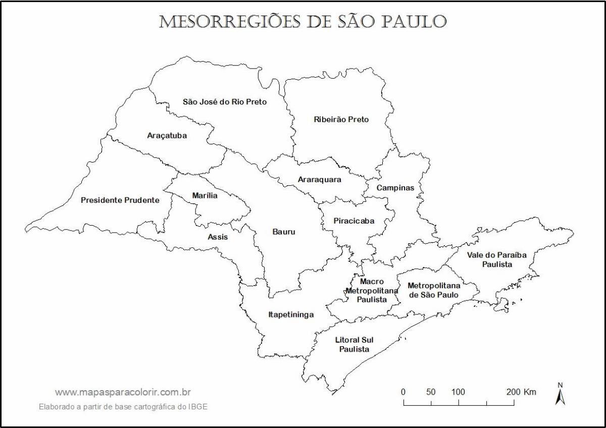 Plan São Paulo Vierge - Noms Régions - Carte São Paulo dedans Carte Des Régions Vierge