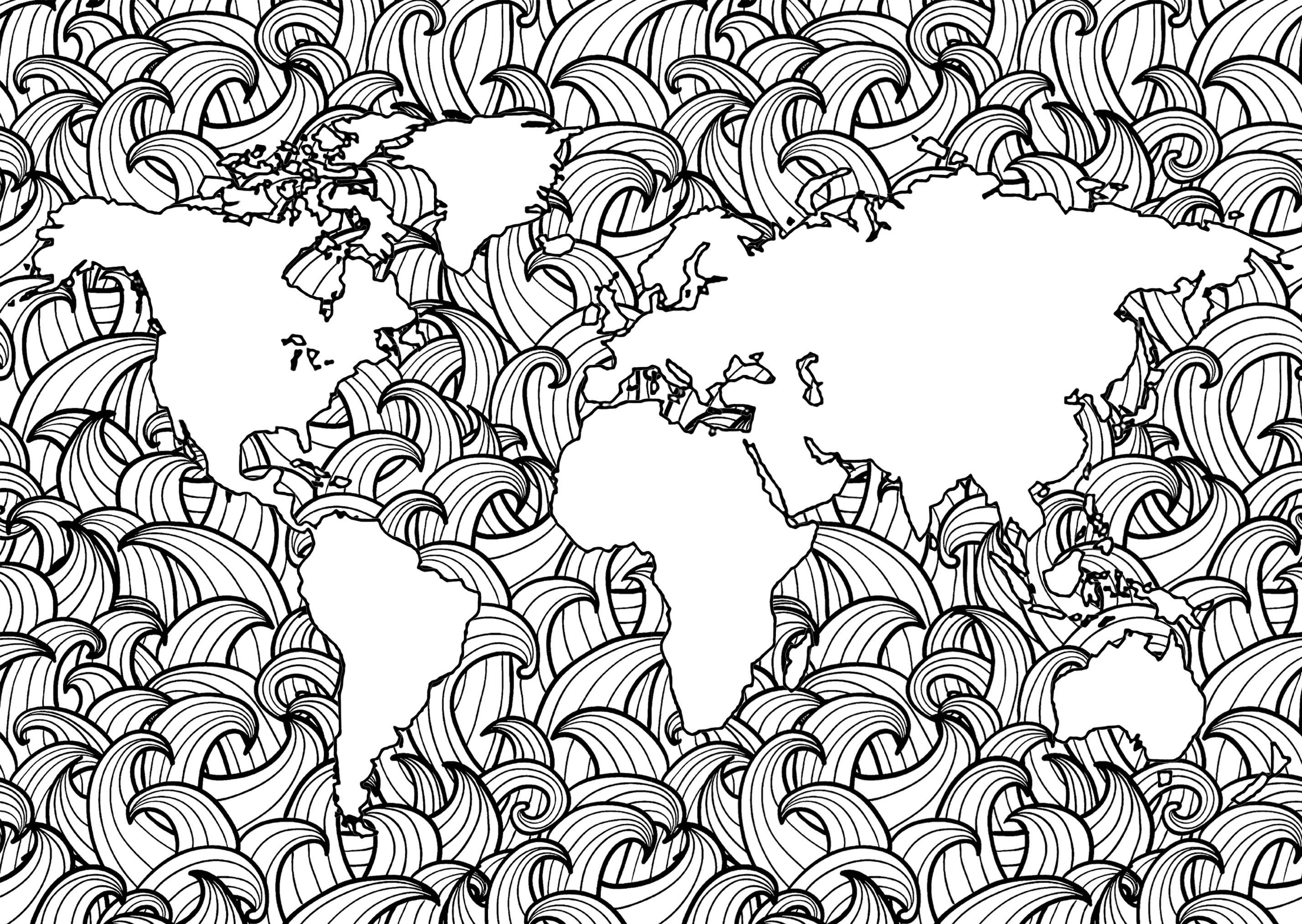 Planète Terre Et Vagues 2 - Anti-Stress & Art-Thérapie encequiconcerne Dessin De Vague A Imprimer