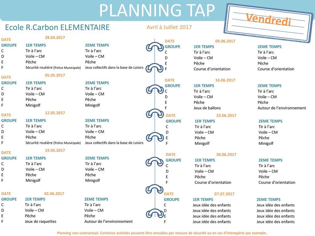 Planning Tap Ecole R.carbon Elemre Avril À Juillet Ppt dedans Idées Activités Tap Primaire
