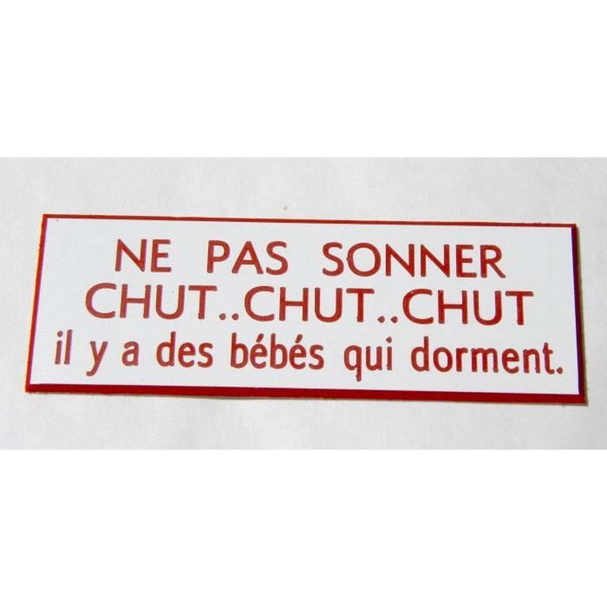 """Plaque Gravée """"ne Pas Sonner Chut.chut.chut. Il Y A Des Bébés Qui Dorment""""  Ft 29 X 100 Mm destiné Image Chut Bébé Dort"""