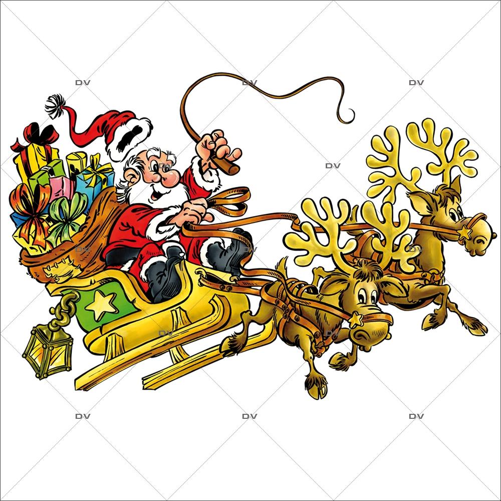 Pn36 - Père Noël Traineau - Deco-Vitres - Electrostatique concernant Image De Traineau Du Pere Noel