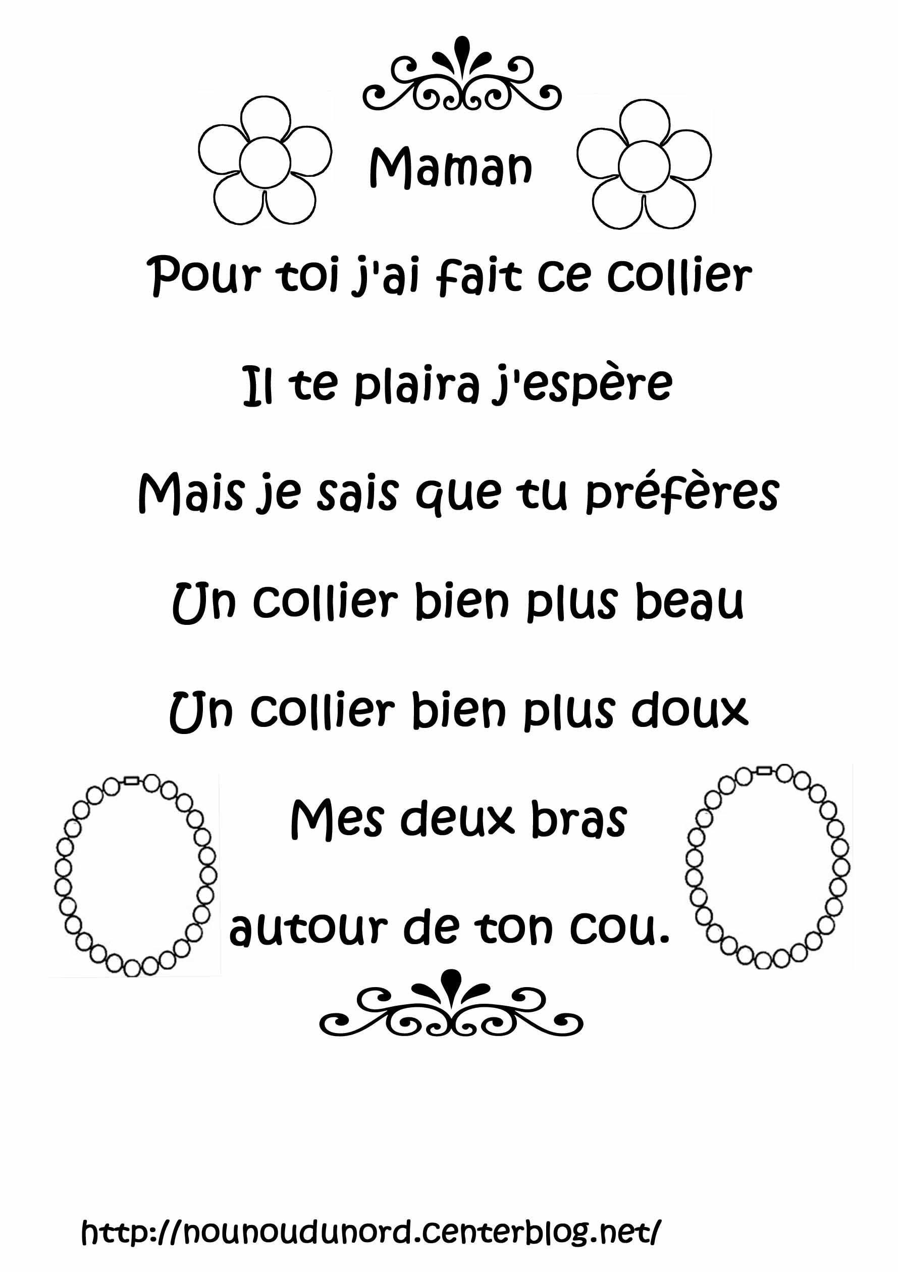 Poème À Imprimer Fleurs Colliers Pour La Fête Des Mères tout Poeme Les Fleurs