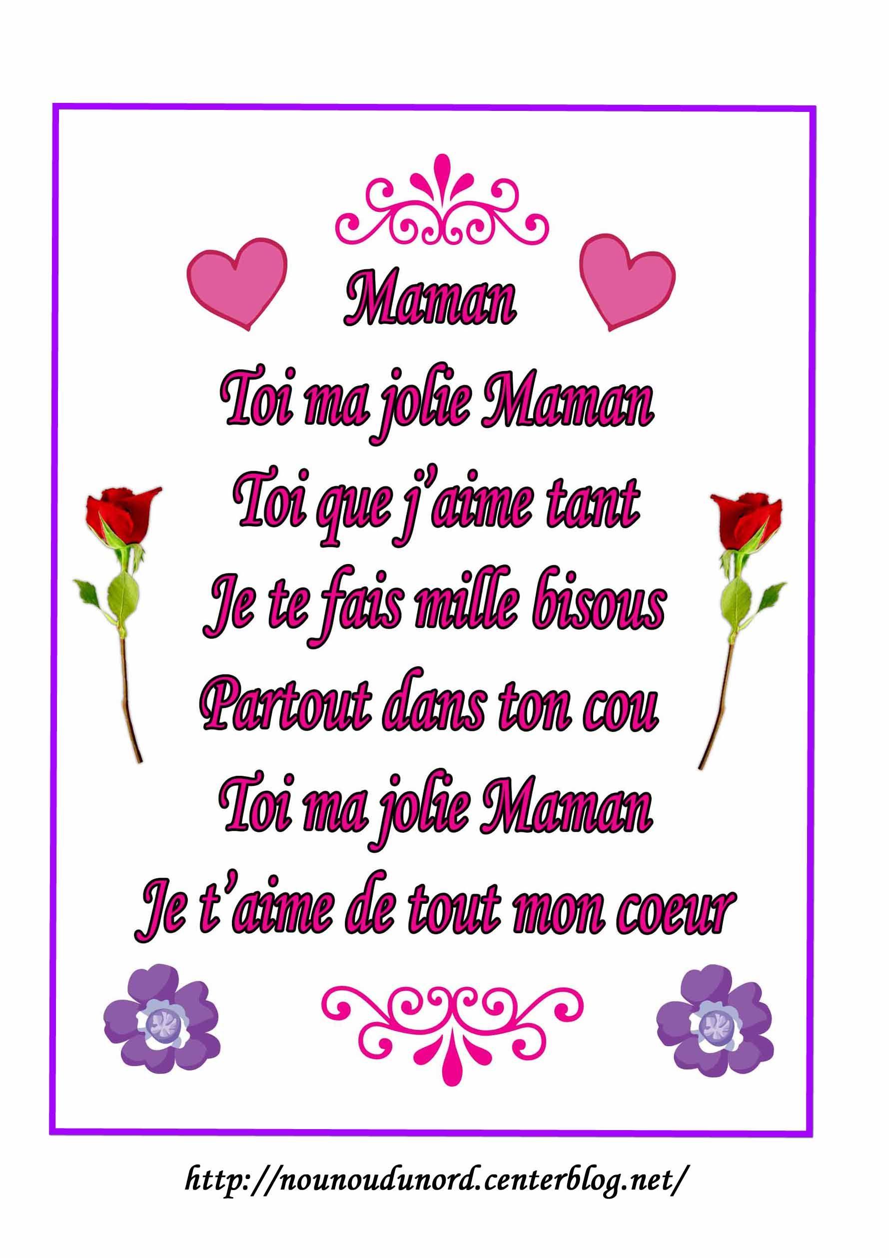 Poème À Imprimer Pour La Fête Des Mères intérieur Texte Maman Je T Aime