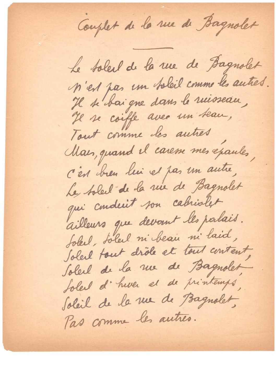 Poème Autographe / à Poème De Robert Desnos