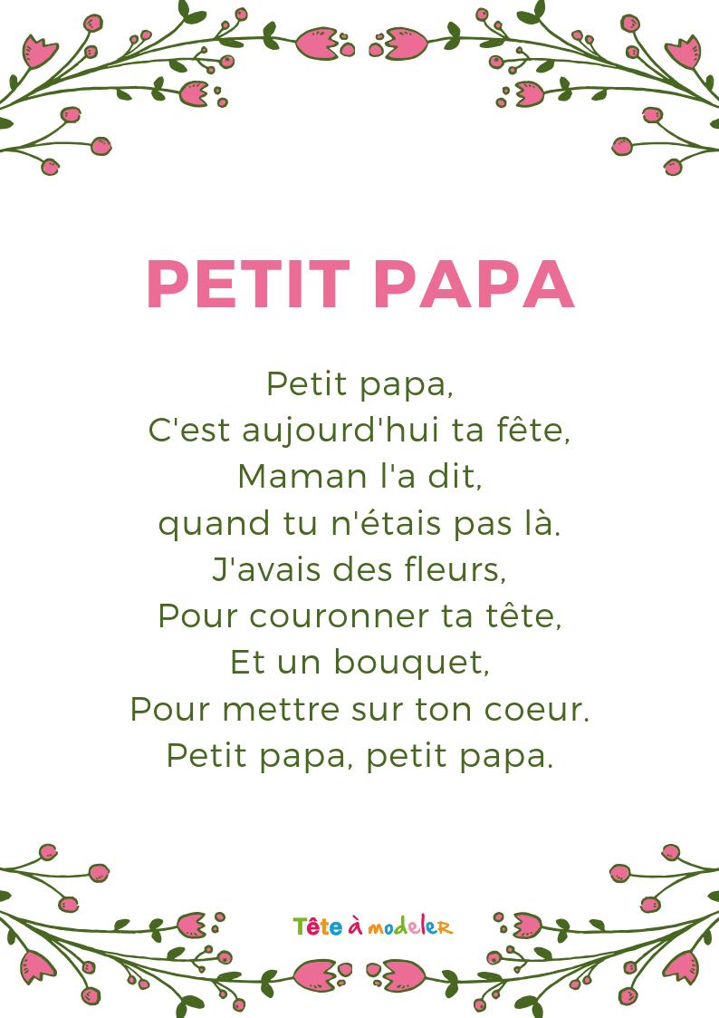 """Poème Fête Des Pères : """"petit Papa"""" Avec Tête À Modeler tout Poeme Les Fleurs"""