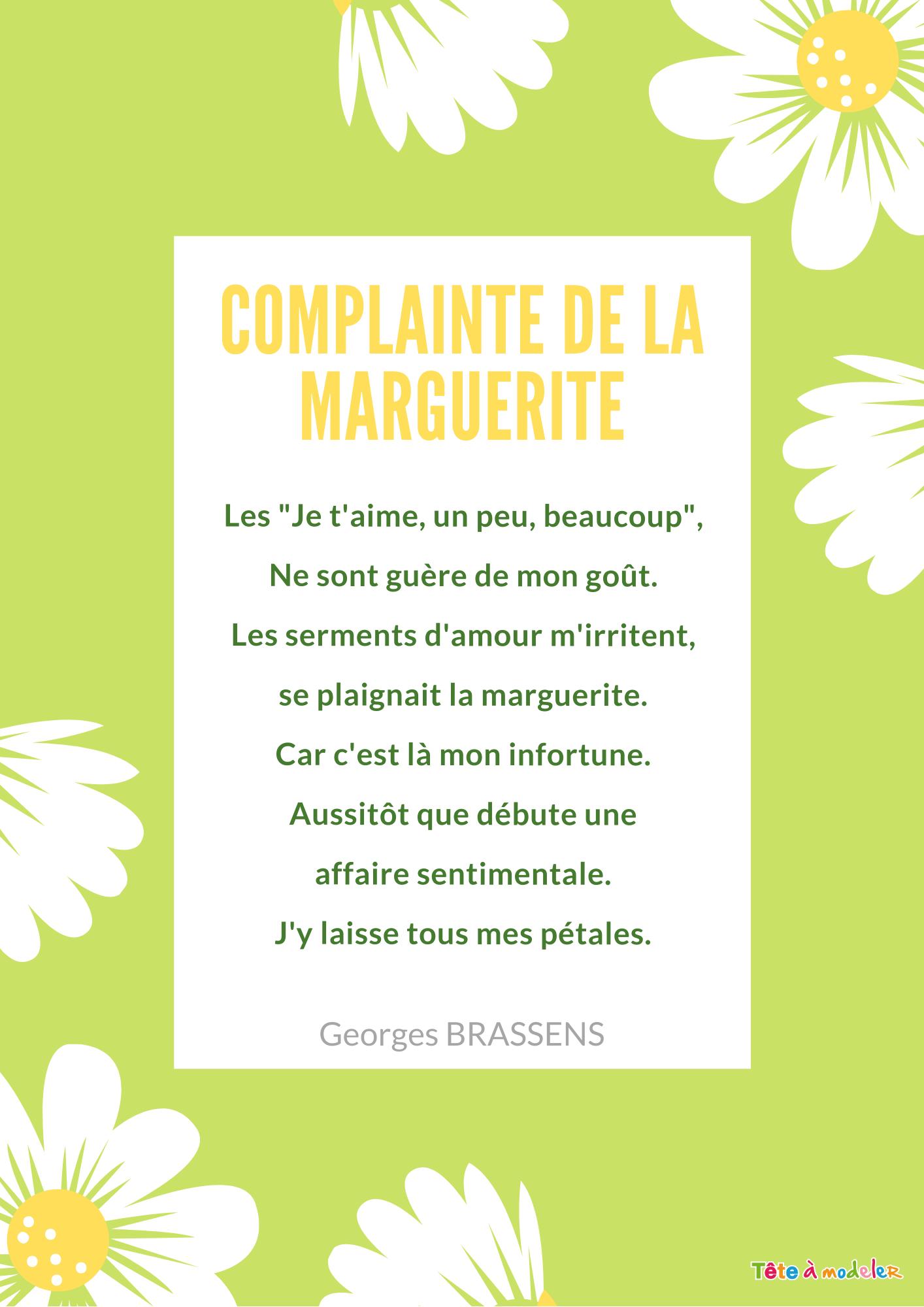 Poésie :complainte De La Marguerite - Tête À Modeler dedans Poeme Les Fleurs