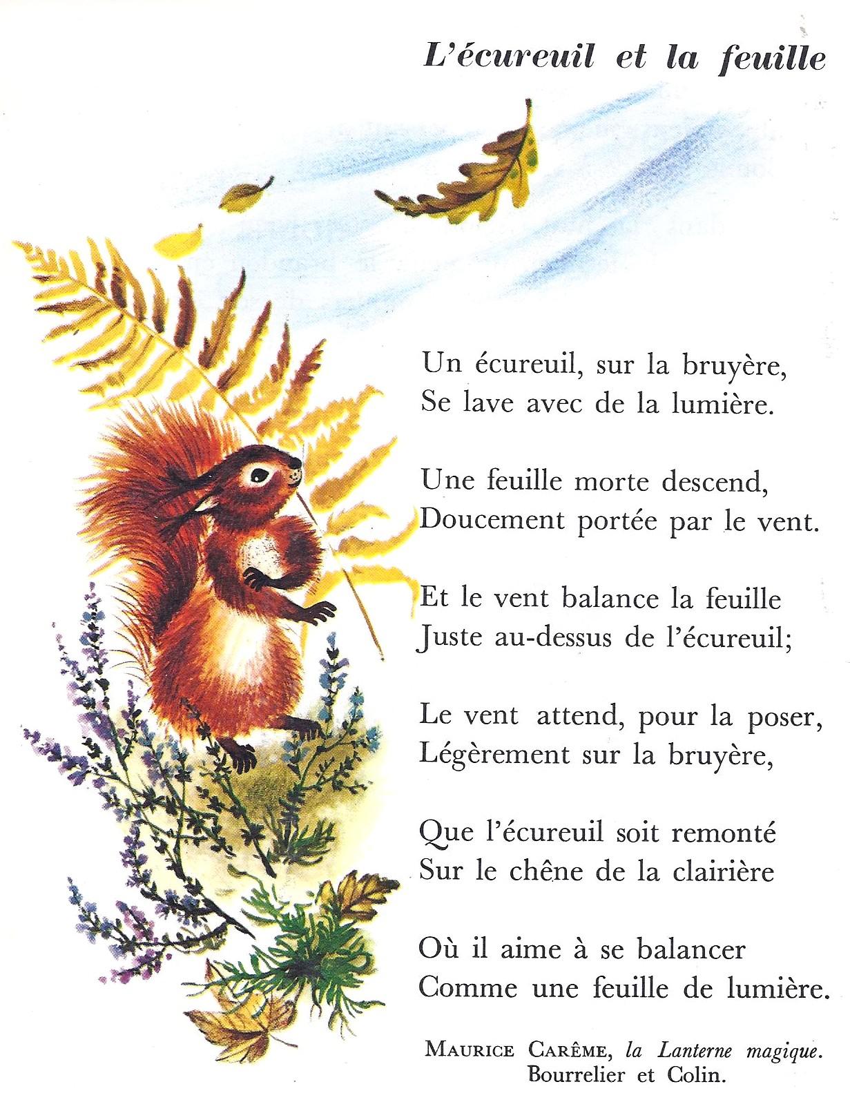 Poésie : L'écureuil Et La Feuille (Maurice Carême) Par Les dedans Mars De Maurice Careme A Imprimer