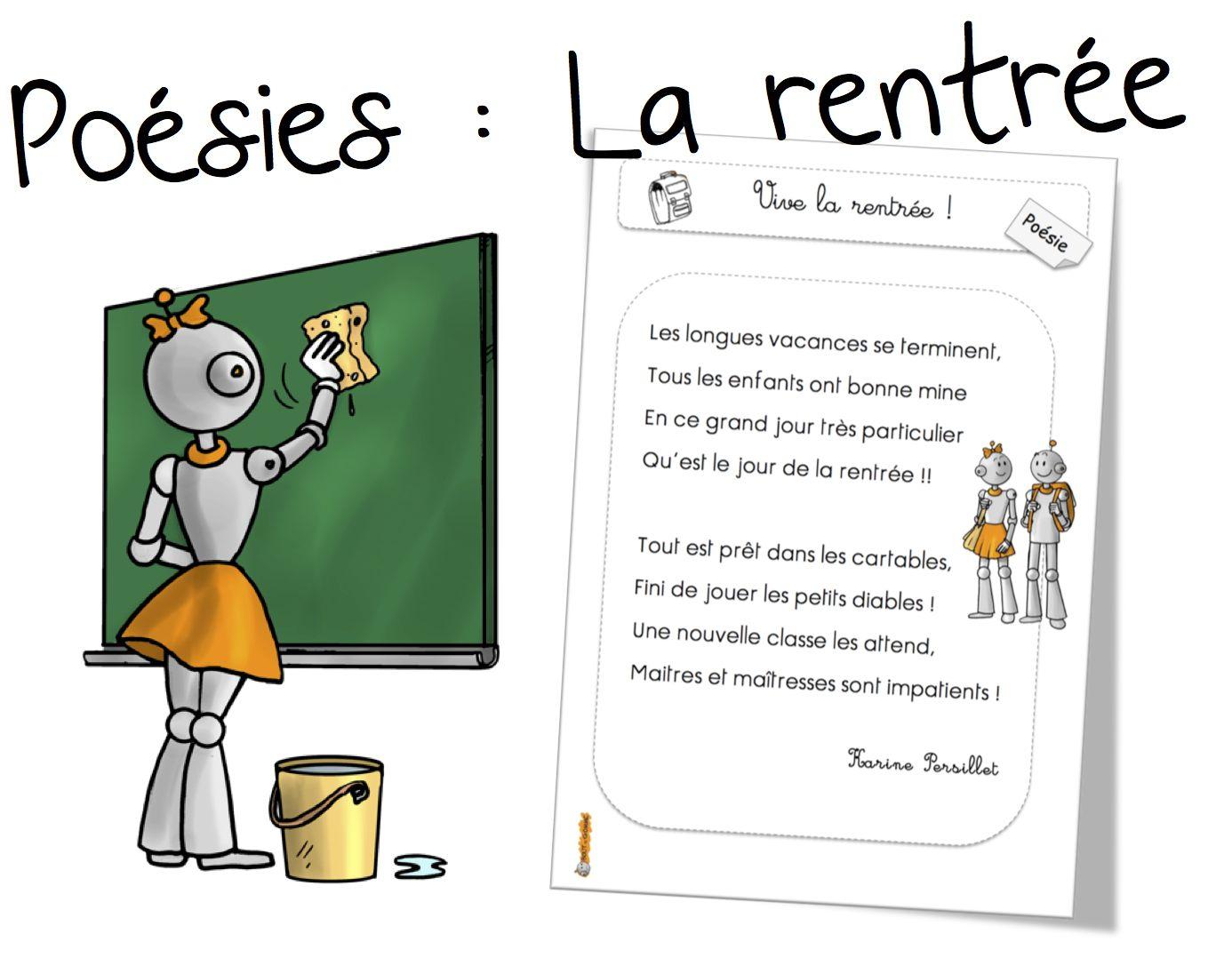 Poésies De Rentrée Cp Ce1 Et Ce2 : Vive La Rentrée !   Bout concernant Poésie Vive Les Vacances