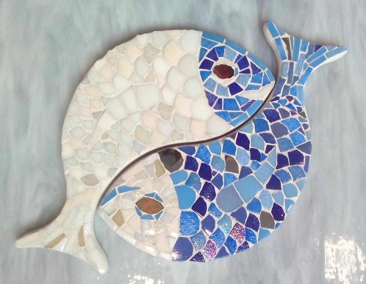 Poisson Carpes Support Mosaïque - Entrelacés Yin-Yang Pour avec Support Pour Mosaique