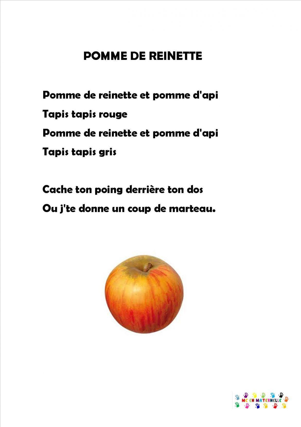 Pomme-Reinette | Maternelle, Chansons Comptines, Pomme intérieur Chanson Sur Les Fruits Et Légumes
