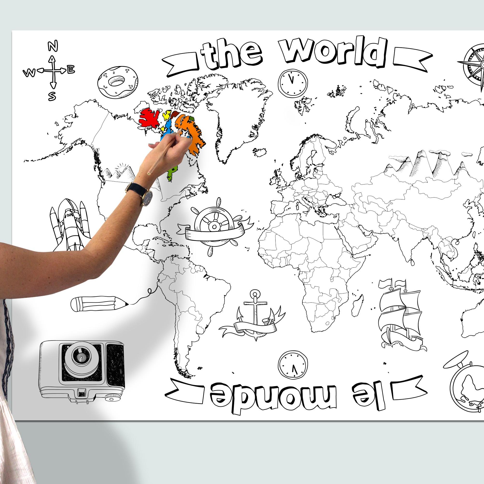 Poster Mappemonde À Colorier - Agent Paper pour Dessin Mappemonde