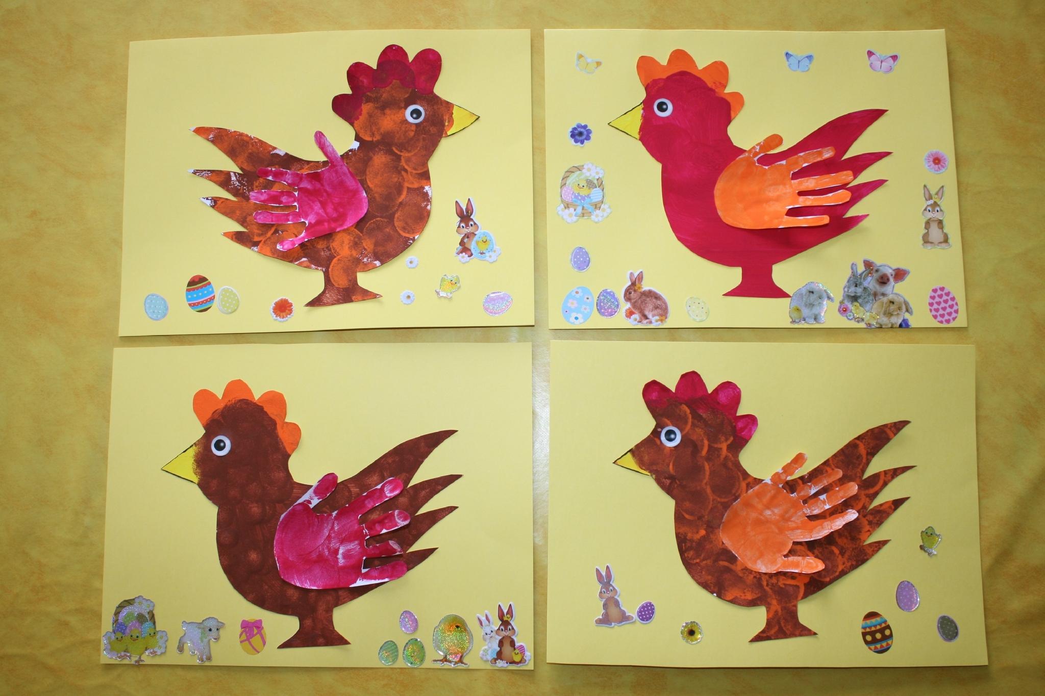 Poule De Pâques Avec Empreinte De Main ( Gabarit ) - Les pour Bricolage Pour Paques Maternelle