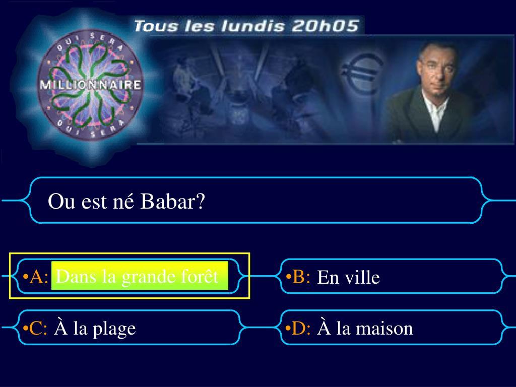 Ppt - Ou Est Né Babar? Powerpoint Presentation, Free serapportantà Singe De Babar