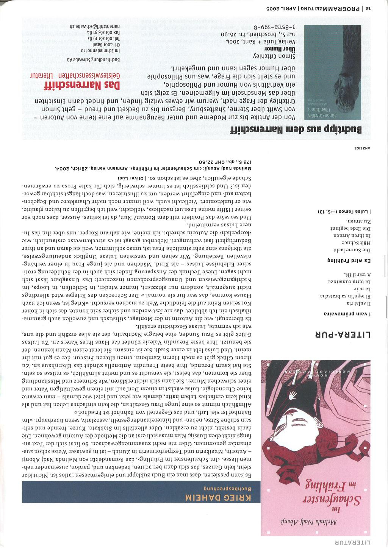 Pr0Grammzeitung. Kultur Im Raum Basel. April 2005 Nr intérieur Realisation Papier Crepon