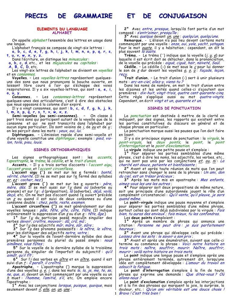 Precis De Grammaire Et De Conjugaison Francaise - Précis De pour Verbe Moudre À L Imparfait