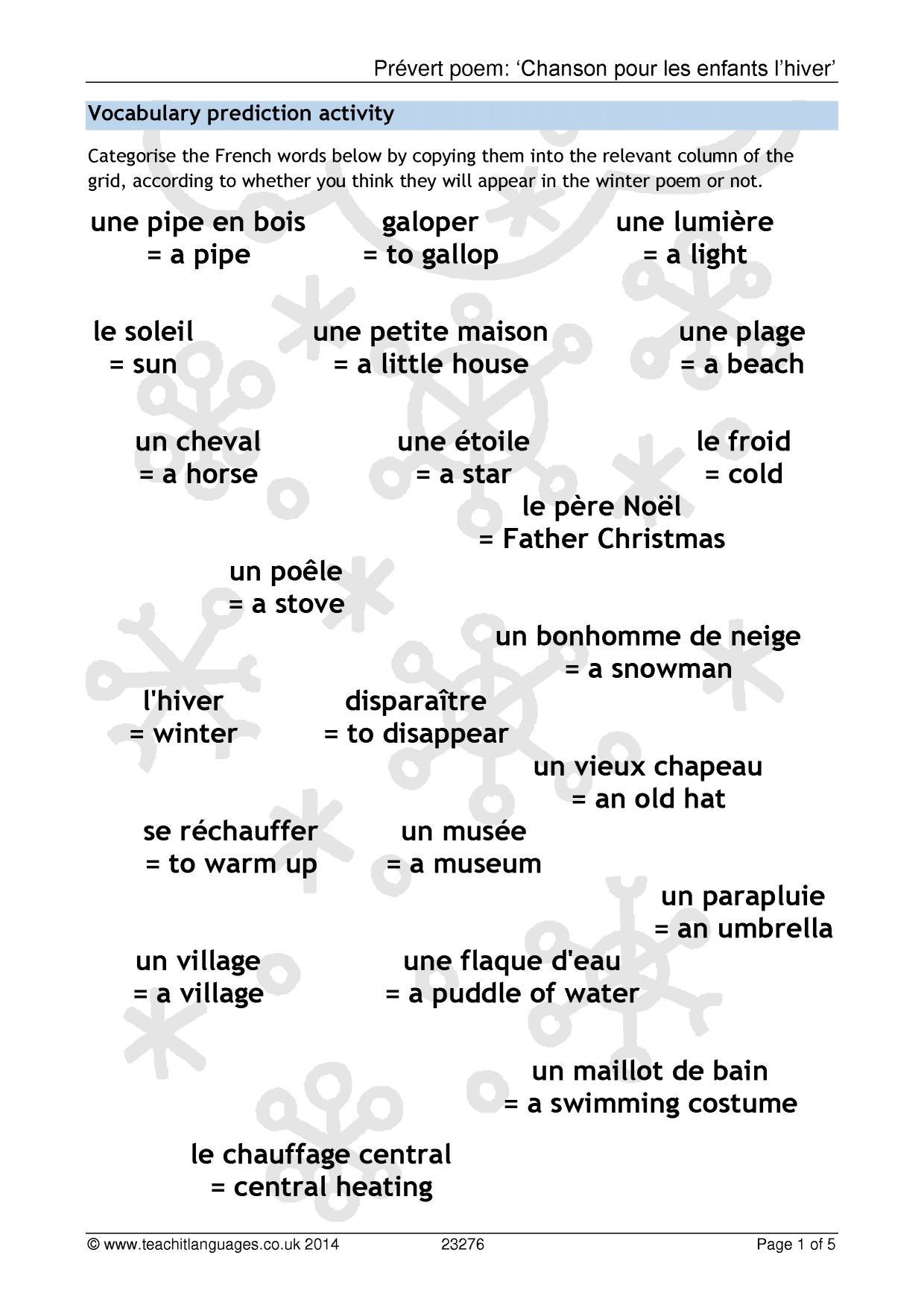 Prévert Poem: 'chanson Pour Les Enfants L'hiver' avec Dans La Nuit De L Hiver Chanson