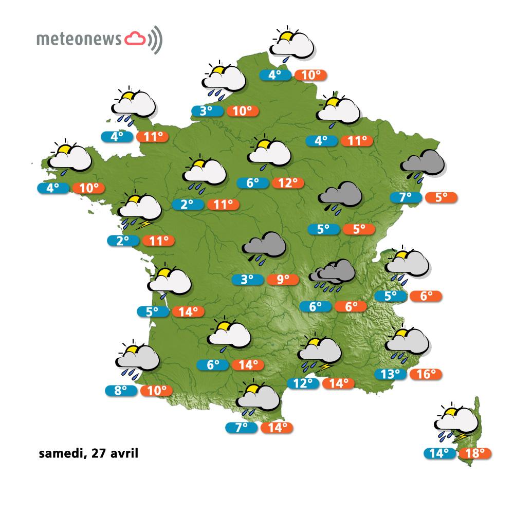 Prévisions Météo (France) Du Vendredi 26 Avril : Retour De pour Carte De France Pour Les Enfants